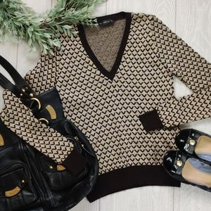 ZARA geometric metallic V neck sweater